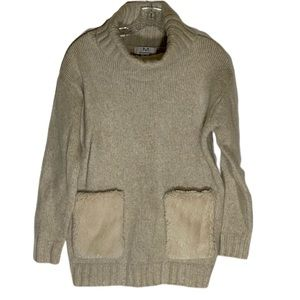 Magaschoni Oversized Sweater w. Faux Fur Pockets